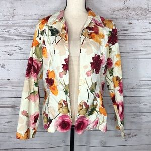 Coldwater Creek Open Front Floral Long Sleeve